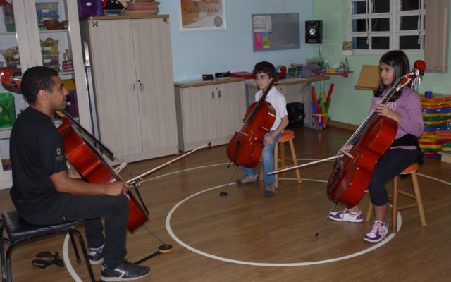 aula em grupo cello